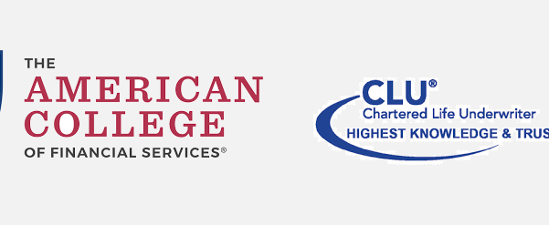 Logo for The American College and CLU, Chartered Life Underwriter, an organization that provides various certifications for Blog Post of Health and Life Insurance Agents Website
